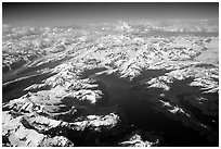 Aerial view of Glaciers in Prince William Sound. Prince William Sound, Alaska, USA (black and white)