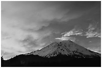 Fiery sky over Mount Shasta at sunset. California, USA (black and white)