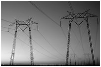 High tension power lines at sunset. California, USA (black and white)