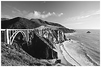 Bixby creek bridge, late afternoon. Big Sur, California, USA (black and white)