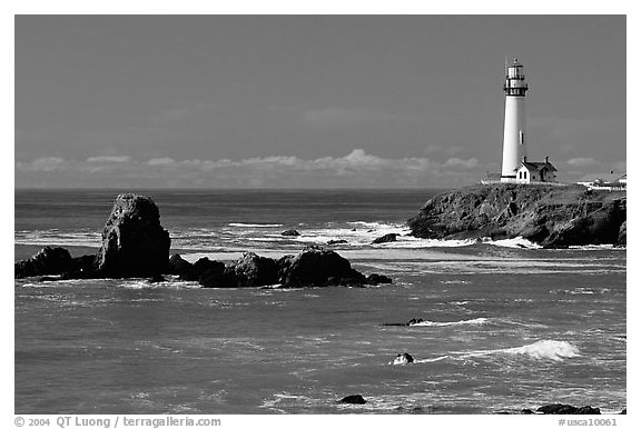 Pigeon Point Lighthouse and rocks, morning. San Mateo County, California, USA