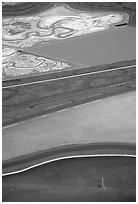 Aerial view of marsh patches in the South Bay. Redwood City,  California, USA (black and white)