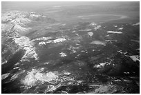 Aerial view of the Sierra Nevada and Mono Lake. California, USA ( black and white)