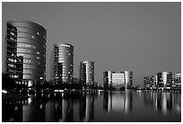 Oracle Headquarters at dusk. Redwood City,  California, USA (black and white)