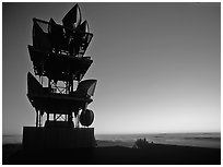 Antennas of communication relay.  Mt Diablo State Park. California, USA ( black and white)