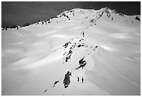 Mount Shasta with climbers on Green Ridge. California, USA (black and white)