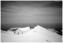 Climbers on the Green Ridge of Mount Shasta. California, USA (black and white)