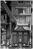 Detail of the Carson Mansion facade. California, USA ( black and white)