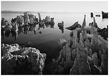 Tufa formations, South Tufa area, early morning. Mono Lake, California, USA ( black and white)