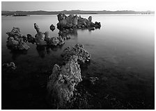 Tufa rock on south shore at sunrise. Mono Lake, California, USA ( black and white)