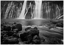 Wide waterfall over basalt, Burney Falls State Park. California, USA (black and white)