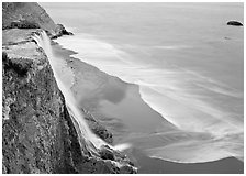 Alamere Falls, beach, and surf. Point Reyes National Seashore, California, USA ( black and white)