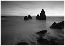 Seastacks and rocks, sunset, Rodeo Beach. California, USA ( black and white)