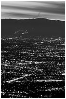 Lights of San Jose at dusk. San Jose, California, USA (black and white)