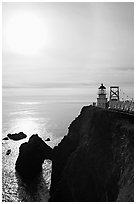 Point Bonita Lighthouse and sun, afternoon. California, USA ( black and white)