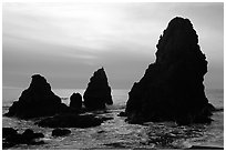 Seastacks, Rodeo Beach, afternoon. California, USA ( black and white)