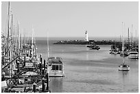 Harbor,  late afternoon. Santa Cruz, California, USA (black and white)