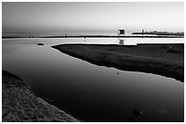 Twin Lakes State Beach, sunset. Santa Cruz, California, USA ( black and white)