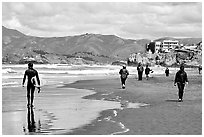 Beach near the Cliff House. San Francisco, California, USA (black and white)