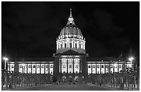 City Hall by night. San Francisco, California, USA (black and white)