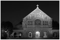 Memorial church at night. Stanford University, California, USA (black and white)