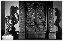 Rodin's monumental Gates of Hell at night. Stanford University, California, USA ( black and white)