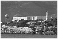 Prison building on Alcatraz Island, late afternoon. San Francisco, California, USA (black and white)