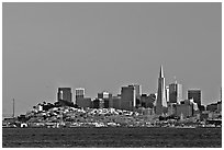 City skyline at sunset. San Francisco, California, USA ( black and white)