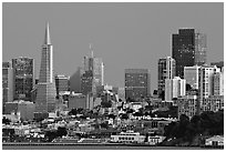 Skyline at dusk. San Francisco, California, USA (black and white)