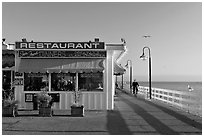 Restaurant on the Pier. Santa Cruz, California, USA ( black and white)