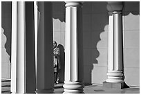 Woman and colonade, Sikh Gurdwara Temple. San Jose, California, USA ( black and white)