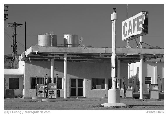 Cafe and gas station, historic route 66,  Amboy. California, USA