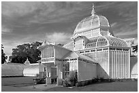 Facade of the renovated Conservatory of Flowers. San Francisco, California, USA (black and white)