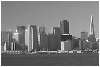 Embarcardero and skyline seen from Treasure Island, early morning. San Francisco, California, USA ( black and white)