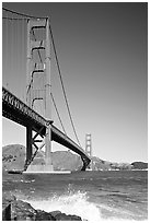 Wave and Golden Gate Bridge. San Francisco, California, USA (black and white)