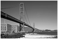 Fort Point and Golden Gate Bridge. San Francisco, California, USA (black and white)