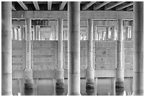 Underneath highway 101 bridge near Seminary Drive, Sausalito. California, USA ( black and white)