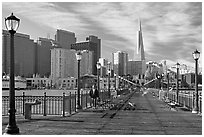 Pier seven and skyline, morning. San Francisco, California, USA (black and white)
