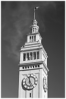 Clock tower of the Ferry building, 204 foot tall. San Francisco, California, USA (black and white)