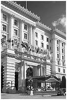 Fairmont Hotel and flags, early afternoon. San Francisco, California, USA (black and white)