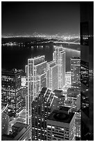 Embarcadero Centre seen from above at night. San Francisco, California, USA ( black and white)