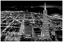 City lights with Transamerica Pyramid. San Francisco, California, USA ( black and white)