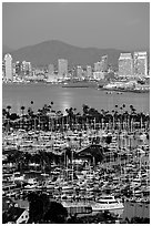 Marina, Shelter Island,  and skyline at dusk. San Diego, California, USA (black and white)