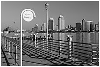 Sign, Ferry pier and skyline, Coronado. San Diego, California, USA (black and white)