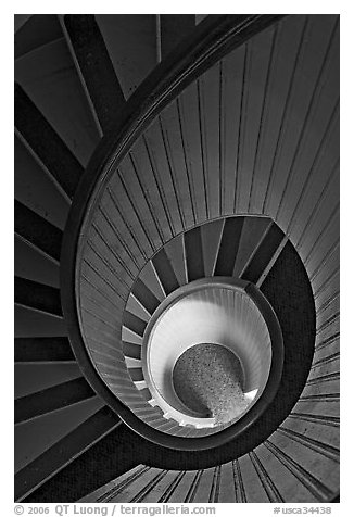 Spiral staircase inside Point Loma Lighthous. San Diego, California, USA (black and white)