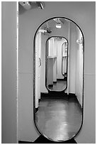 Corridor, USS Midway. San Diego, California, USA (black and white)