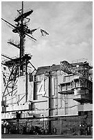 Island superstructure, USS Midway aircraft carrier. San Diego, California, USA (black and white)