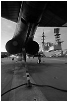 Aircraft with landing hook deployed, San Diego Aircraft  carrier museum. San Diego, California, USA (black and white)
