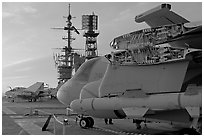Aircaft with wings folded to save space, USS Midway aircraft carrier. San Diego, California, USA (black and white)