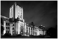 County Administration Center in Art Deco style at night. San Diego, California, USA (black and white)
